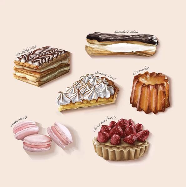 French Desserts Spot Illustrations