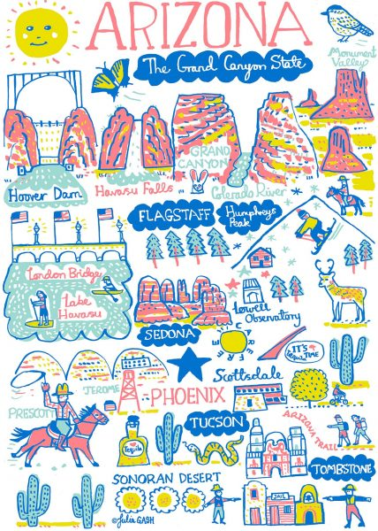 Arizona Illustrated Map by Julia Gash