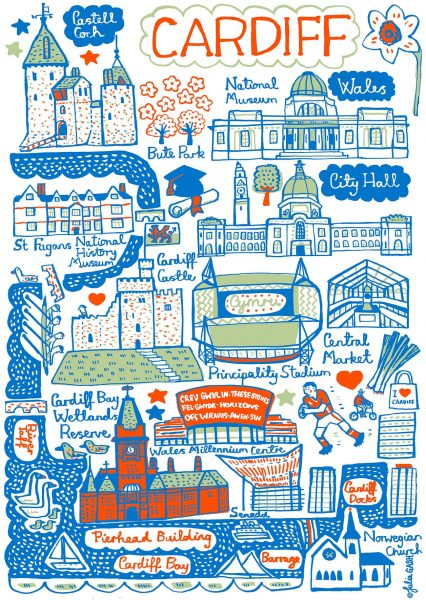 Cardiff Illustrated Map by Julia Gash