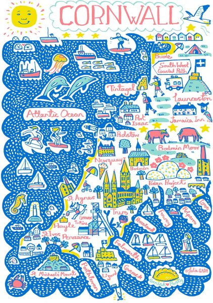Cornwall Illustrated Map by Julia Gash