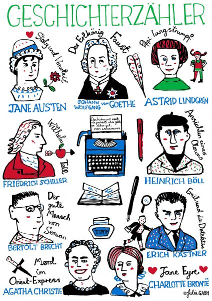 Famous Authors Illustration by Julia Gash