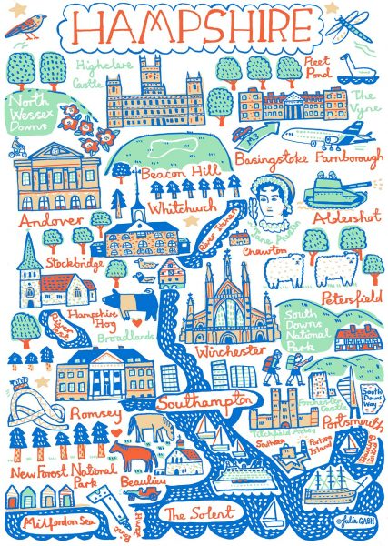 Hampshire Illustrated Map by Julia Gash