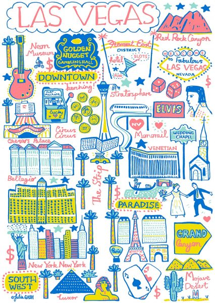 Las Vegas Illustrated Map by Julia Gash