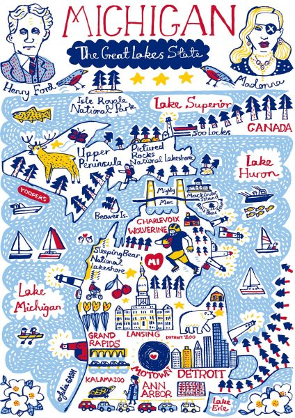 Michigan Illustrated Map by Julia Gash