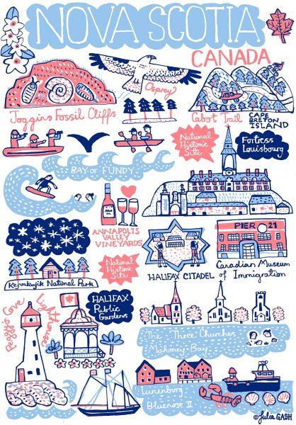 Nova Scotia Illustrated Map by Julia Gash
