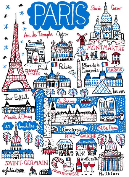 Paris Illustrated Map by Julia Gash