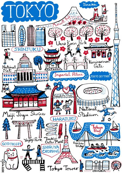 Tokyo Illustrated Map by Julia Gash