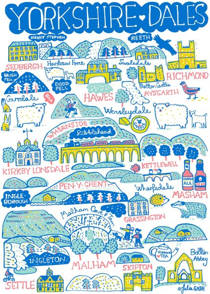 Yorkshire Dales Illustrated Map by Julia Gash