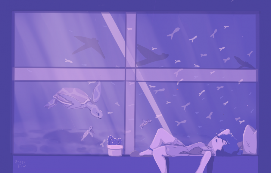 2am Aquarium Vibes Postcard Print