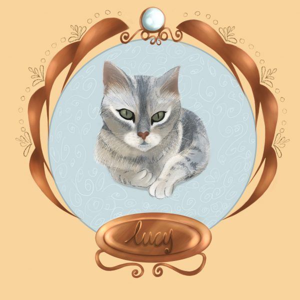 Cat Portrait Round Frame