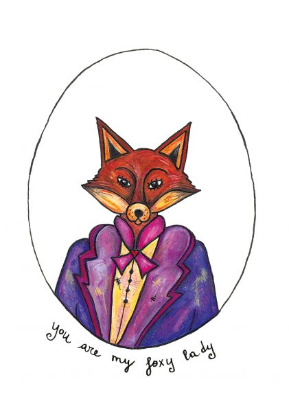 Foxy Lady Valentine Card by Bity Booker