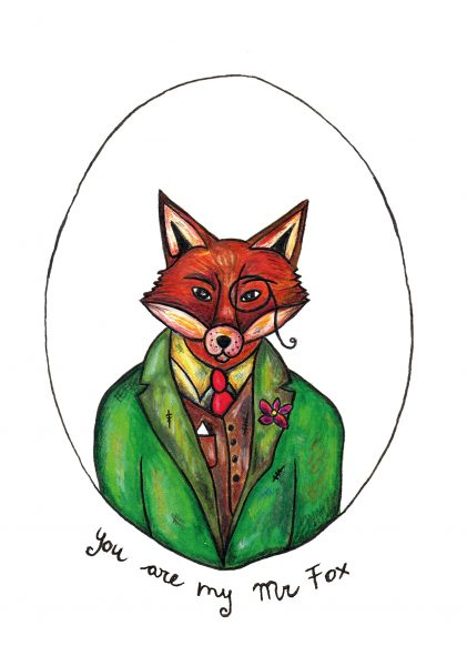 Mr Fox Valentine Card by Bity Booker