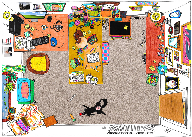 Drawing of an artists' studio seen from above.