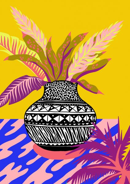Casiegraphics-Illustration-Stillleben-Objekt_vektor_-Pflanze-Afrika-Blume-Gelb-Tisch-Blatt-Muster-Vase-Topf-Keramik