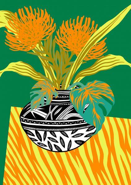 Casiegraphics-Illustration-Stillleben-Objekt_vektor_-Pflanze-Afrika-Blume-Gelb-Tisch-Vase
