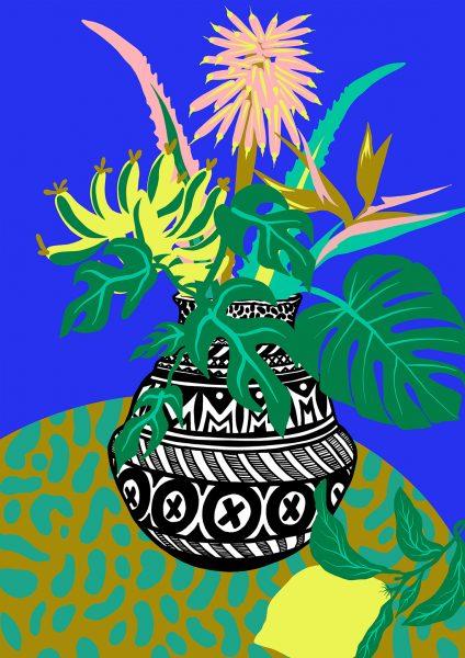 Casiegraphics-Illustration-Stillleben-Vase-Objekt_vektor_-Pflanze-Afrika-Blume-Blau-Tisch-Zitrone-aloevera-monstera-marroko-inspiriert