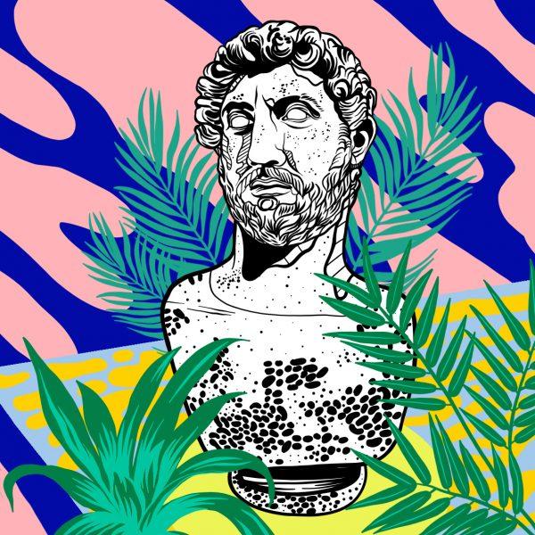 Casiegraphics-Illustration-Stillleben_Statue-Rom-skulptur-pflanzen-muster-bueste