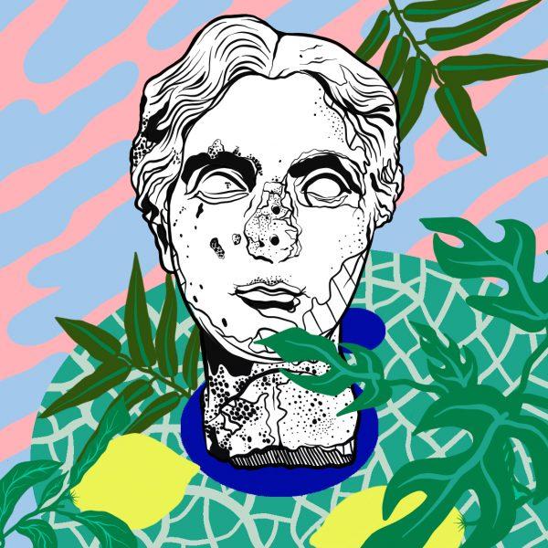Casiegraphics-Illustration-Stillleben_Statue-Rom-skulptur-pflanzen-muster-bueste-zitrone-olivenzweig