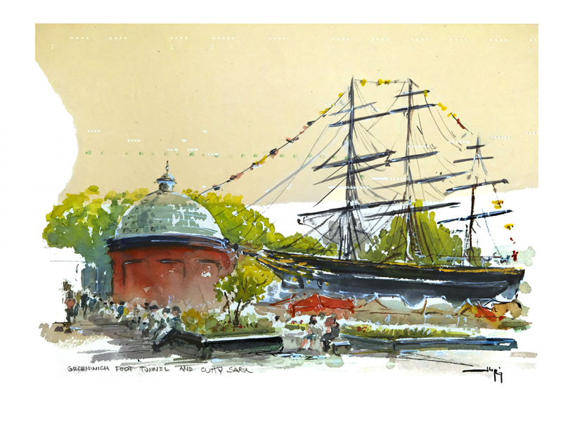 Greenwich foot tunnel and Cutty Sark, London.