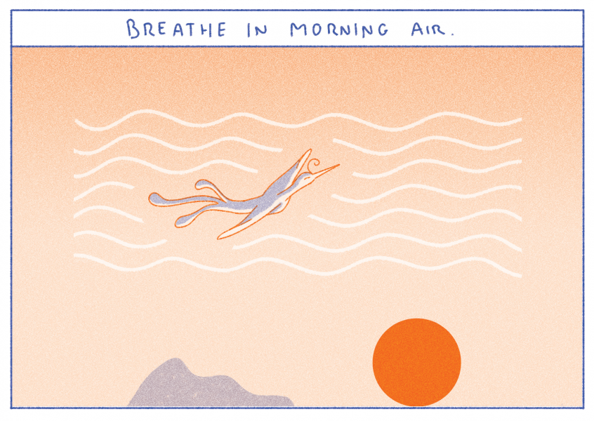 Breathe in morning air, Postcard