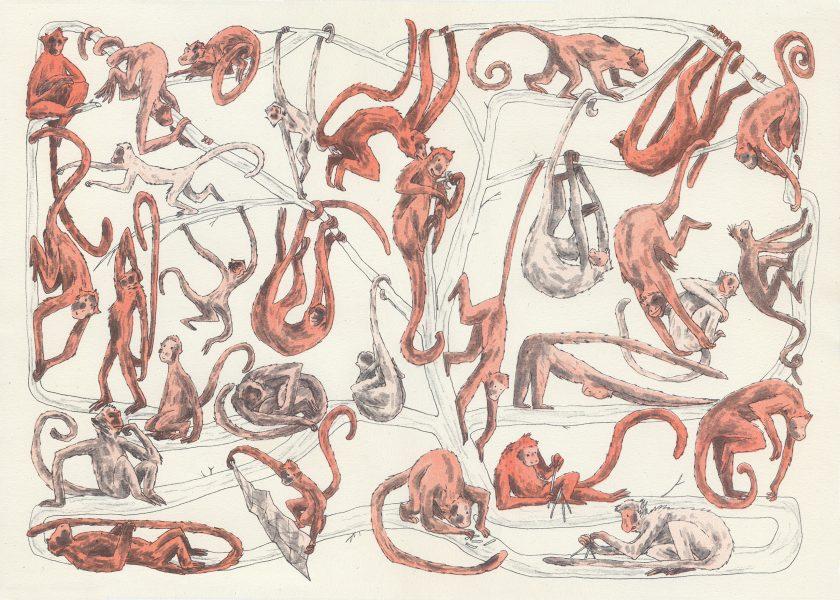 A Mischief of Monkeys, riso print