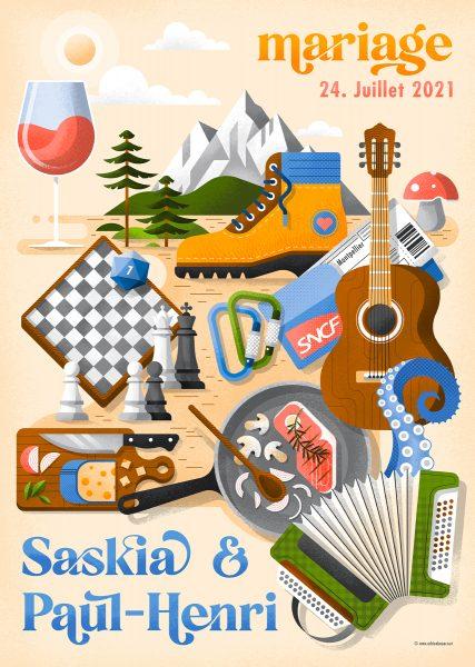 Wedding invitation, poster illustration