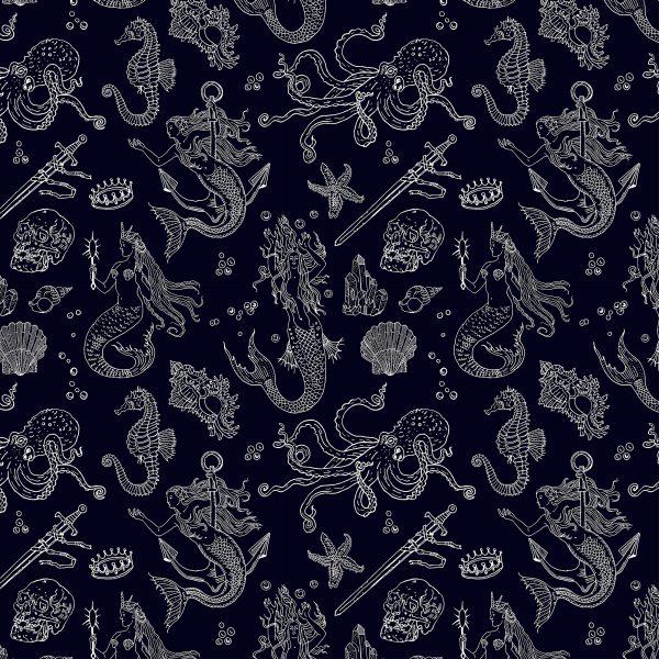 Vintage mermaids (seamless pattern)
