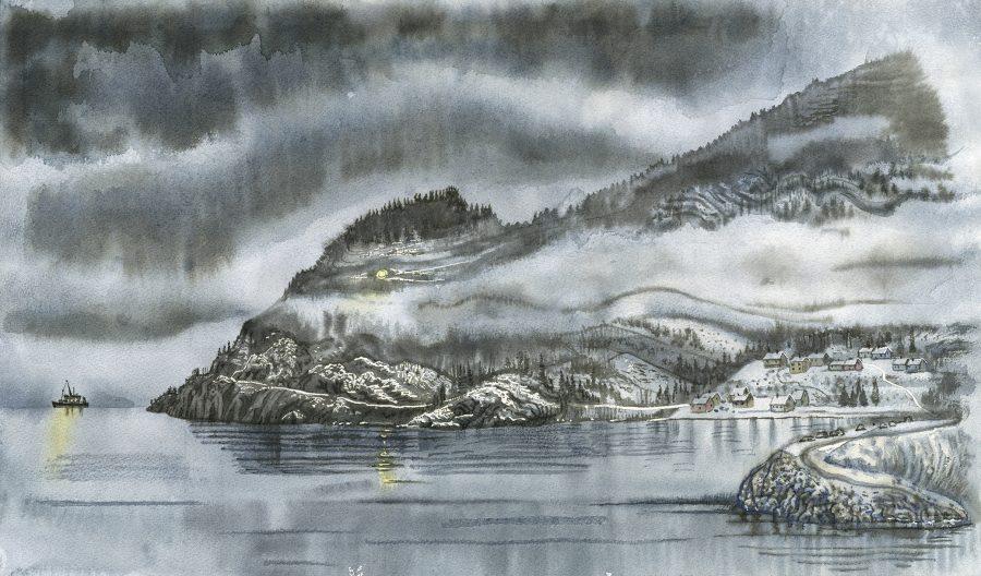 Misty fjord and troll-like mountain (Norwegian landscape)