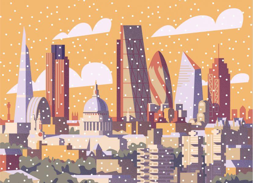 Winter London Cityscape Illustration