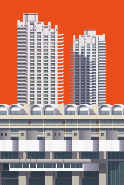 Brutalist illustration – Barbican Centre / Estate in London print