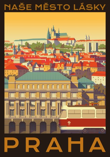 Prague Cityscape Travel Poster Illustration