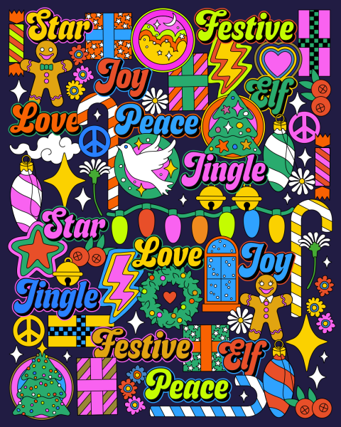 Cristmas themed illustrated pattern