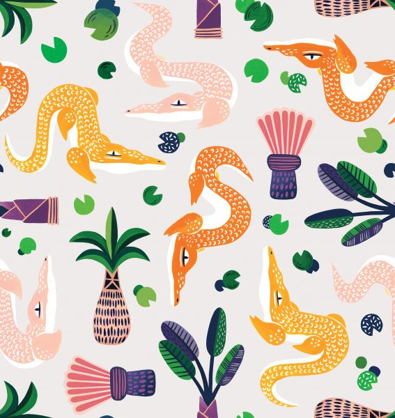 Alligators and Palms Pattern