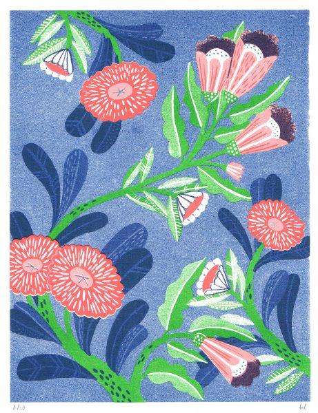Florescent Flowers Print