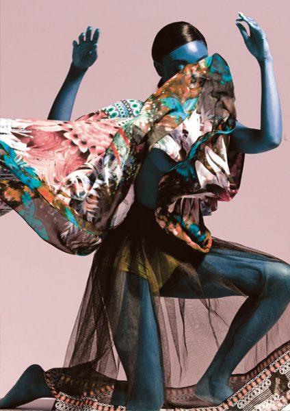 Modern Love:Bird Print Cape Dress in Chiffon&Tulle
