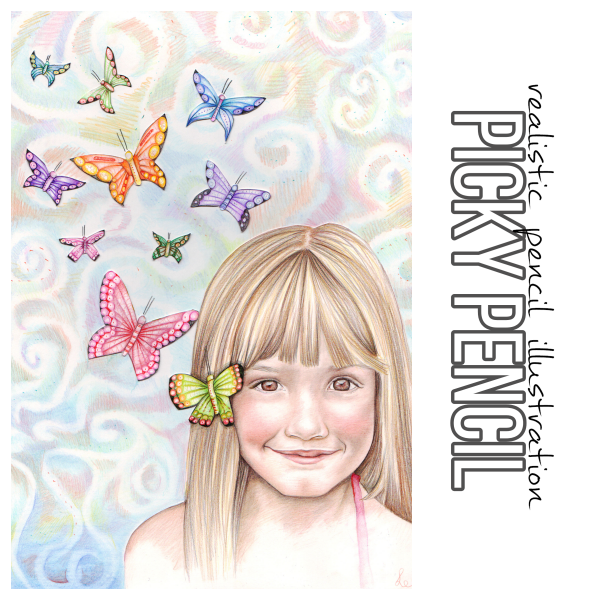 Butterfly girl realistic illustration