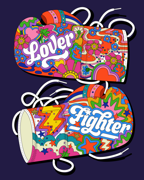 Lover & Fighter boxing gloves