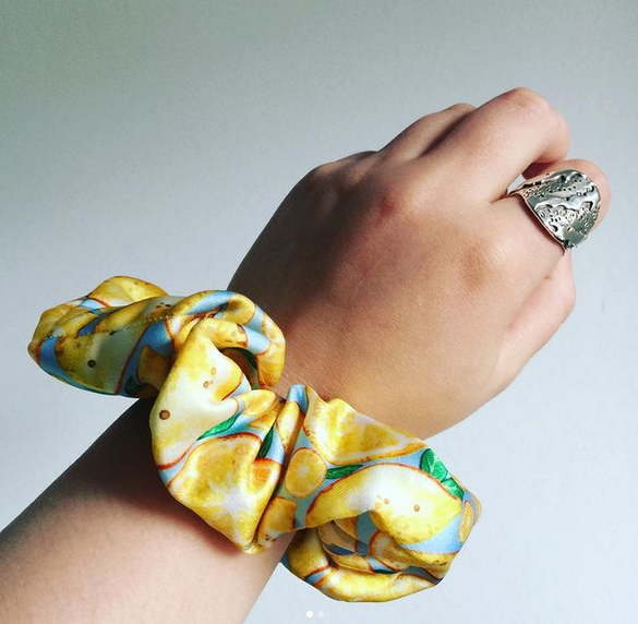 Lemon Pattern Scrunchy