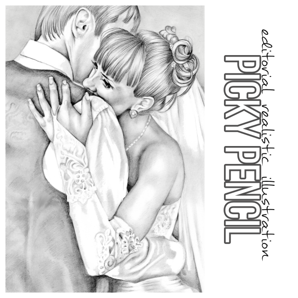 First dance romantic wedding day illustration drawing