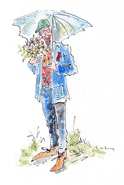 Artist in blue