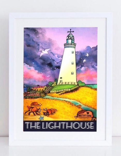 St Marys Lighthouse watercolour