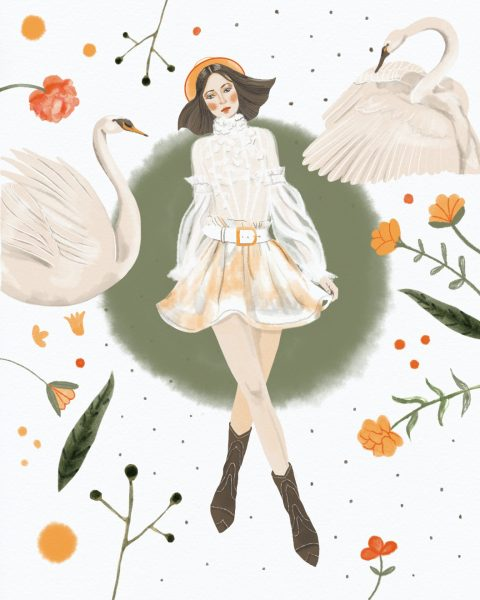 Zimmermann Swans Fashion Illustration