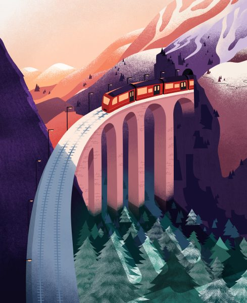 Train and Mountains Landscape