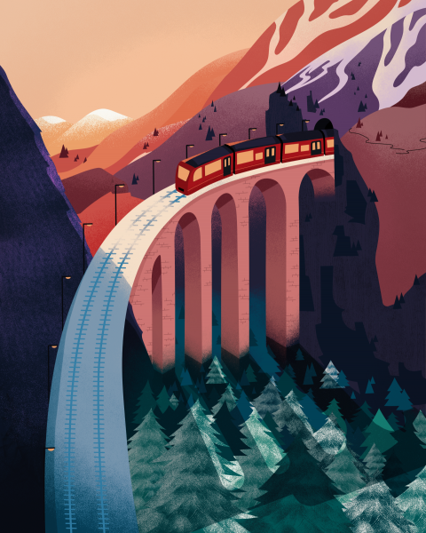 Train and Mountains Illustration