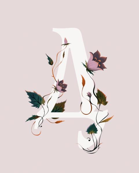 Typography Floral Poster Campanula Carpatica Illustration