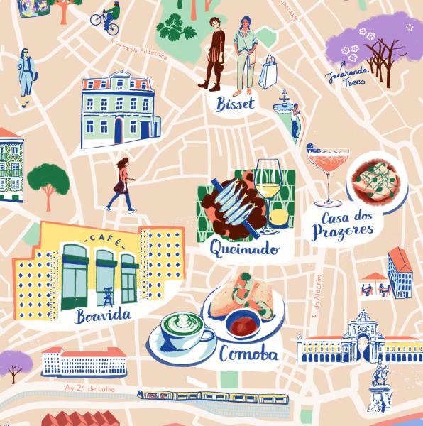 Detail of Lisbon Map for Soho House