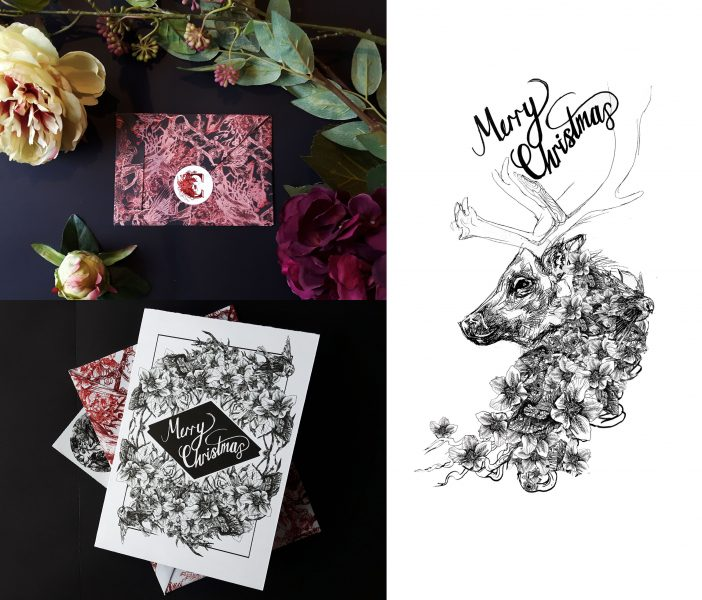 Christmas cards, stickers and envelopes