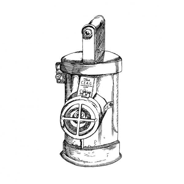 Antique Miner's Lamp Illustration