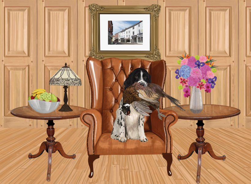 dog in wooden room