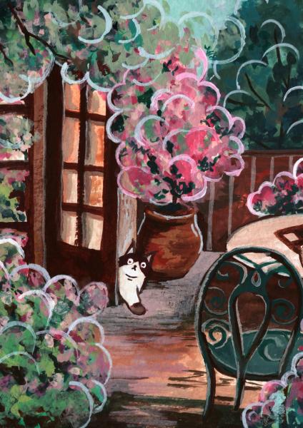Cat in the bubblegum garden